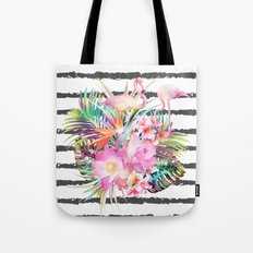 Tropical floral leaves and flamingos stripes Tote Bag