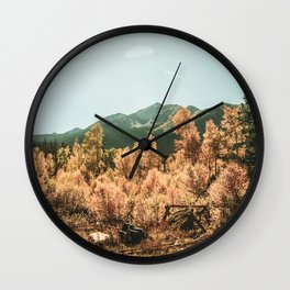 Rustic Autumn Beauty // Golden Yellow and Orange Leaves in the Forest Wall Clock