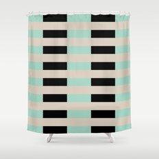 Tan Black Mint Checkerboard Shower Curtain