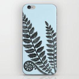 Black Lace Fern Powder Blue iPhone Skin