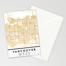 VANCOUVER CANADA CITY STREET MAP ART Stationery Cards