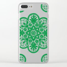 Floral Doily Pattern | Lace Crochet Doilies | Needle Crafts | Green and White | Clear iPhone Case