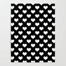 Black White Hearts Minimalist Poster