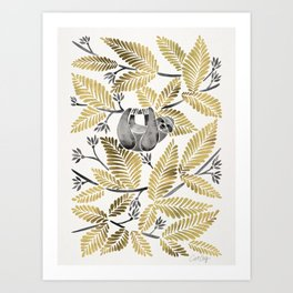 Happy Sloth – Tropical Gold Leaves Art Print