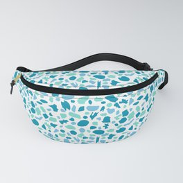Terrazzo in Peacock Blue, Mint on White Fanny Pack