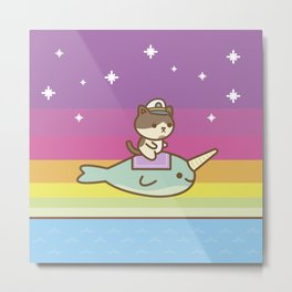 Admiral Whiskers Magical Narwhal Ride Metal Print
