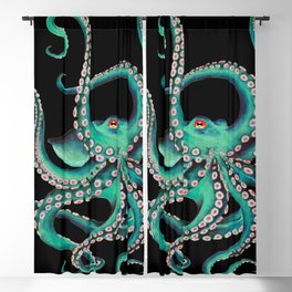 Octopus Tentacles Dance Teal Watercolor Ink Black Blackout Curtain