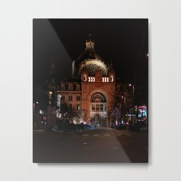 The monumental Antwerp Central Station by night - Travel Photography in Belgium, Europe - Photo print Metal Print