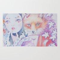 kitsune Area & Throw Rugs featuring kitsune kitsune by Eszter Nagy