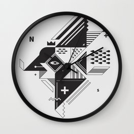 Vintage Abstract Art Monochromatic Black and White Geometric Shape Pattern with an Eye Wall Clock