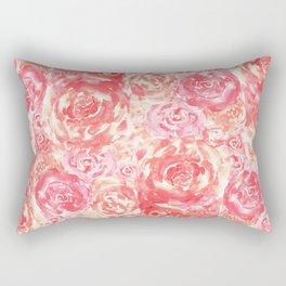 Living Coral Pink Watercolor Roses Flower Pattern Rectangular Pillow