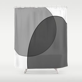 Circle Oval | Grey and Black Shower Curtain