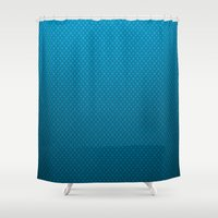 lv Shower Curtains featuring LV Blue Pattern by Veylow
