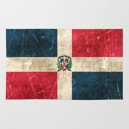 Vintage Aged and Scratched Dominican Flag Rug