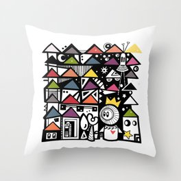 Graphic doodle Throw Pillow