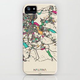 Colorful City Maps: Havana, Cuba iPhone Case