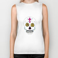 mexican Biker Tanks featuring Mexican Skull by Mariam Tronchoni