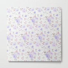 Lavender gray elegant vintage roses floral Metal Print