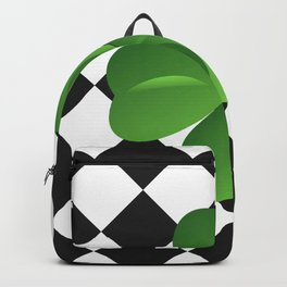 Diamonds Pattern black with clover green Backpack