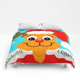 Nadolig llawen reindeer - Merry Christmas wales Comforters
