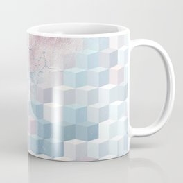 Distressed Cube Pattern - Pink and blue Coffee Mug