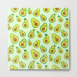 Cute Avocado Pattern Metal Print