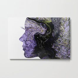 Fluid Art Dirty Cup Pour Abstract Woman Face Silhouette Metal Print