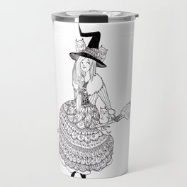 little witch *black and white* Travel Mug