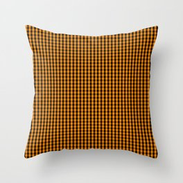Small Pumpkin Orange and Black Gingham Check Plaid Throw Pillow