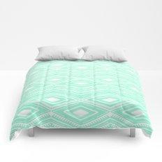 Hipster Mint Green Arrows Aztec Tribal Pattern Comforters
