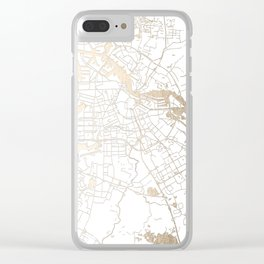 Amsterdam White on Gold Street Map II Clear iPhone Case