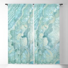 """Aquamarine Pastel and Teal Agate Crystal"" Blackout Curtain"