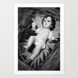 Baby Jesus in the crib Art Print