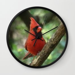 Northern Cardinal (male) Wall Clock