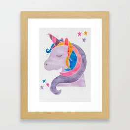 MAGICAL DREAMING UNICORN Framed Art Print