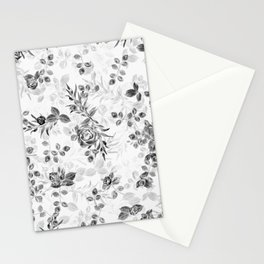 Classic Minimal Floral Watercolor Rose Pattern Stationery Cards