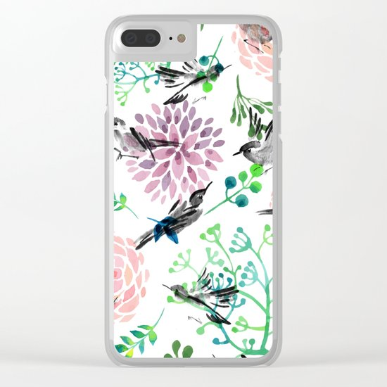 Birds and Flowers Clear iPhone Case