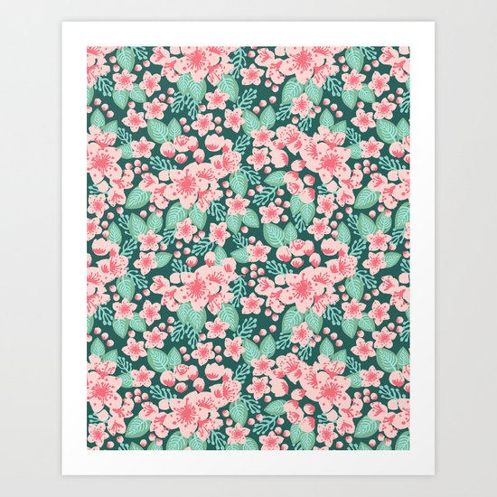 Cherry Blossom spring summer boho floral flower gardening nature botanical nature flowers florals Art Print