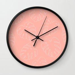 Monstera Leaves in Pink Wall Clock