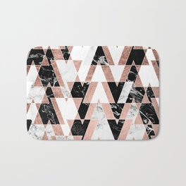 Modern geometric triangles rose gold black white abstract marble pattern Bath Mat
