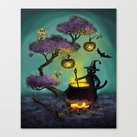halloween Canvas Prints featuring Halloween by Anna Shell