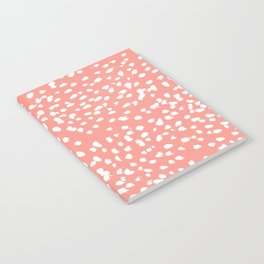 Coral and white minimal painted dots pattern dotty print decor for minimal home office dorm college Notebook