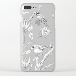 Magnolia flower and birds ink-pen drawing Clear iPhone Case