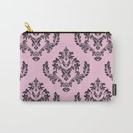 Damask Black on Pink Carry-All Pouch