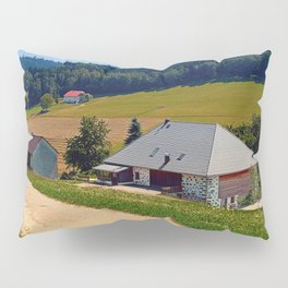 Hiking trail, farm house and scenery | landscape photography Pillow Sham