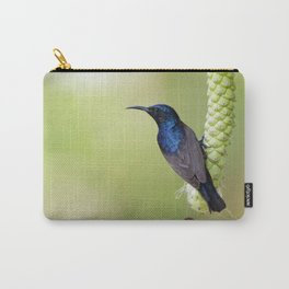 Image of purple sunbird(Male) on a branch on nature background. (Cinnyris asiatica) Bird. Animal. Carry-All Pouch