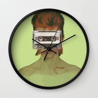 aladdin Wall Clocks featuring Taped Over Aladdin Sane by AudioVisuals