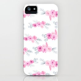 Blush pink gray watercolor hand painted elegant floral iPhone Case
