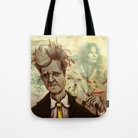 david lynch Tote Bags featuring Lynch by Davel F. Hamue