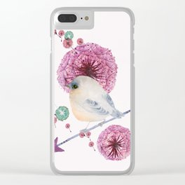 Cute Bird and Dandelion Clear iPhone Case